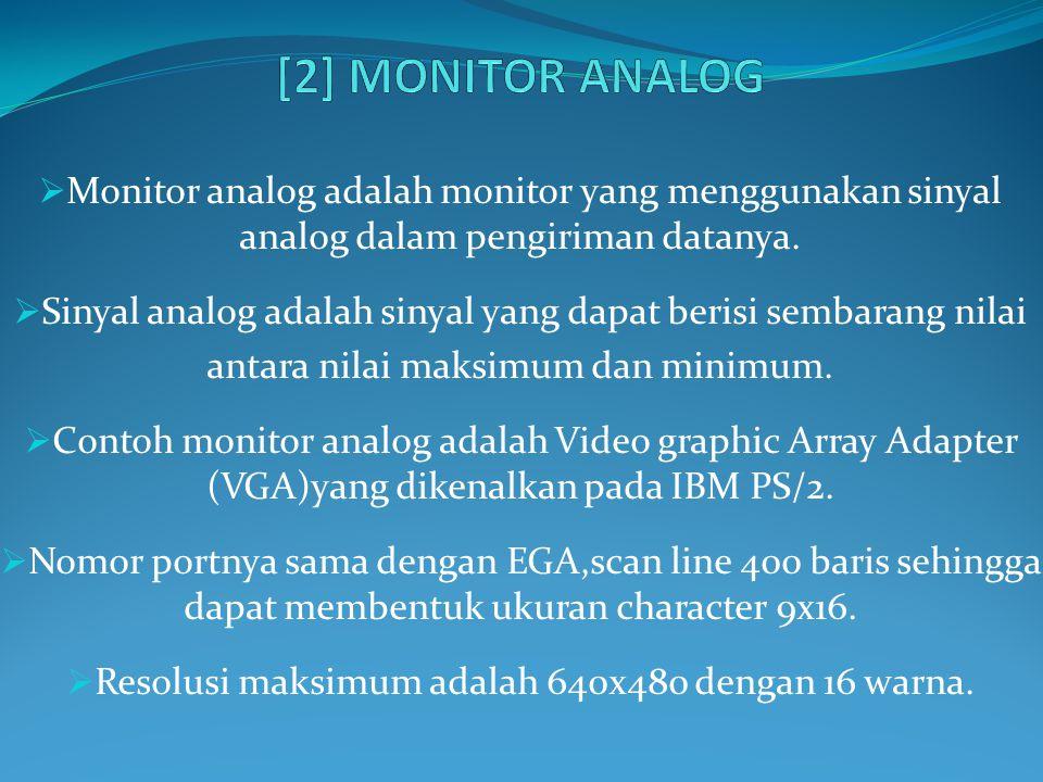  Monitor analog adalah monitor yang menggunakan sinyal analog dalam pengiriman datanya.  Sinyal analog adalah sinyal yang dapat berisi sembarang nil