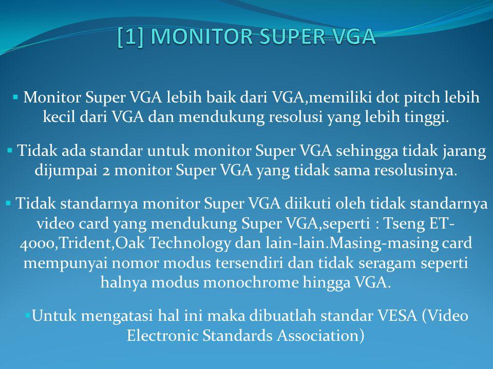  Monitor Super VGA lebih baik dari VGA,memiliki dot pitch lebih kecil dari VGA dan mendukung resolusi yang lebih tinggi.  Tidak ada standar untuk mo