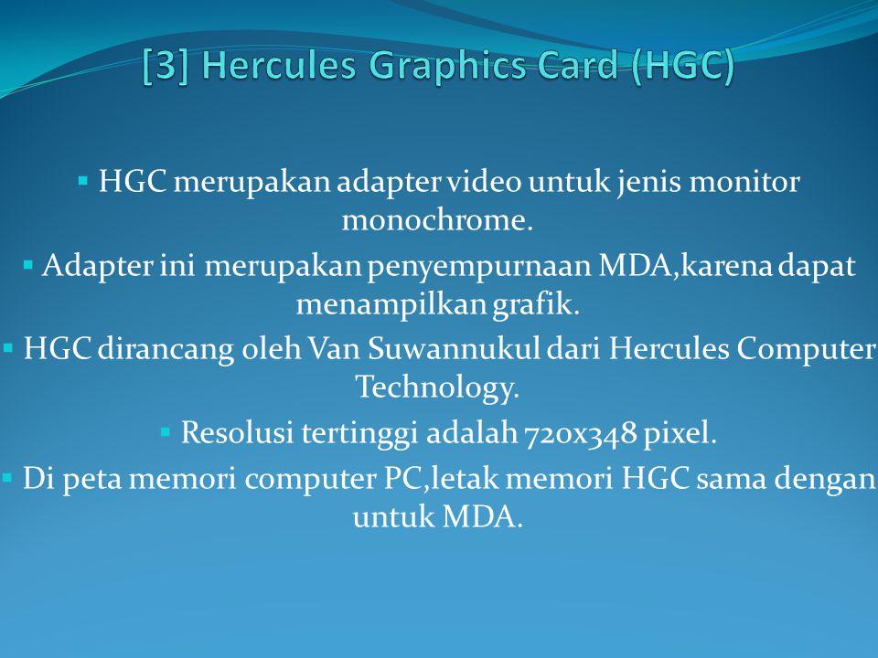  HGC merupakan adapter video untuk jenis monitor monochrome.  Adapter ini merupakan penyempurnaan MDA,karena dapat menampilkan grafik.  HGC diranca
