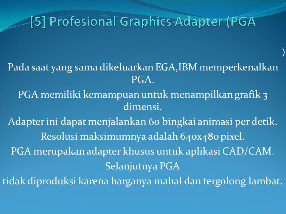 ) Pada saat yang sama dikeluarkan EGA,IBM memperkenalkan PGA. PGA memiliki kemampuan untuk menampilkan grafik 3 dimensi. Adapter ini dapat menjalankan