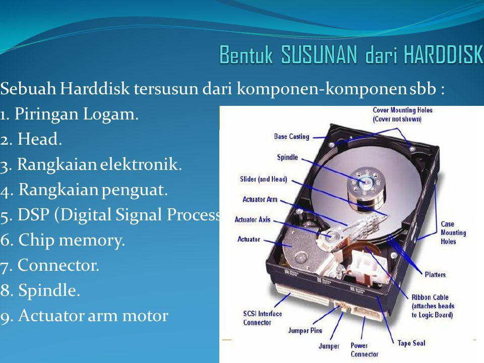 Sebuah Harddisk tersusun dari komponen-komponen sbb : 1. Piringan Logam. 2. Head. 3. Rangkaian elektronik. 4. Rangkaian penguat. 5. DSP (Digital Signa