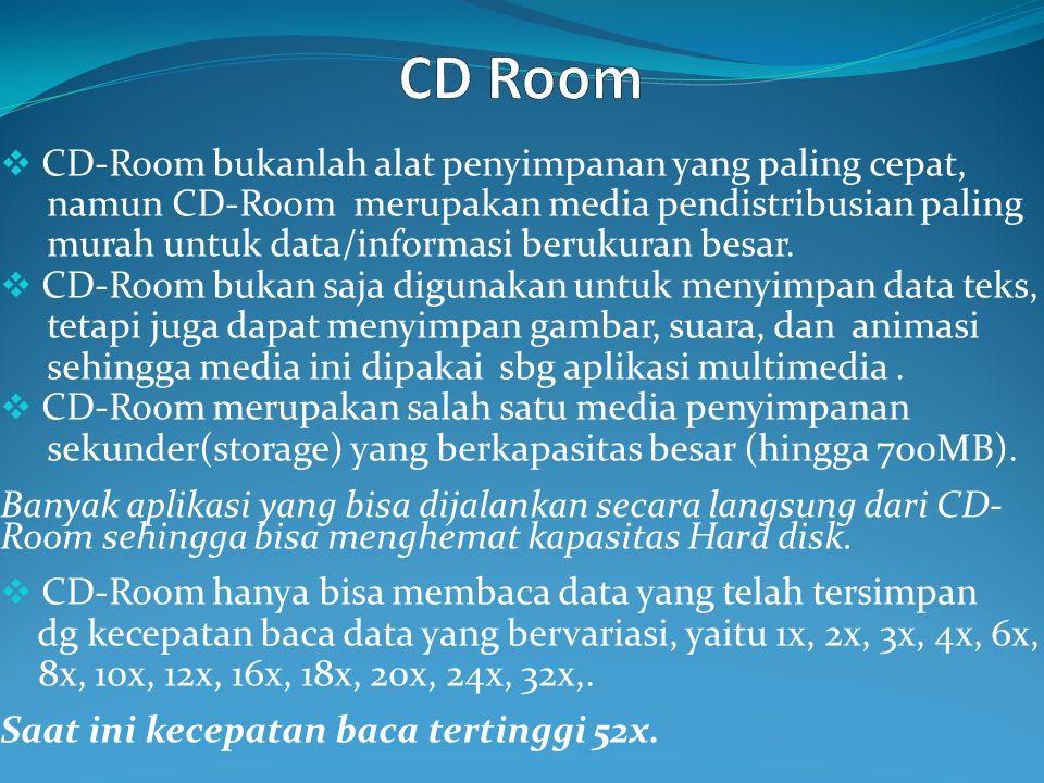  CD-Room bukanlah alat penyimpanan yang paling cepat, namun CD-Room merupakan media pendistribusian paling murah untuk data/informasi berukuran besar