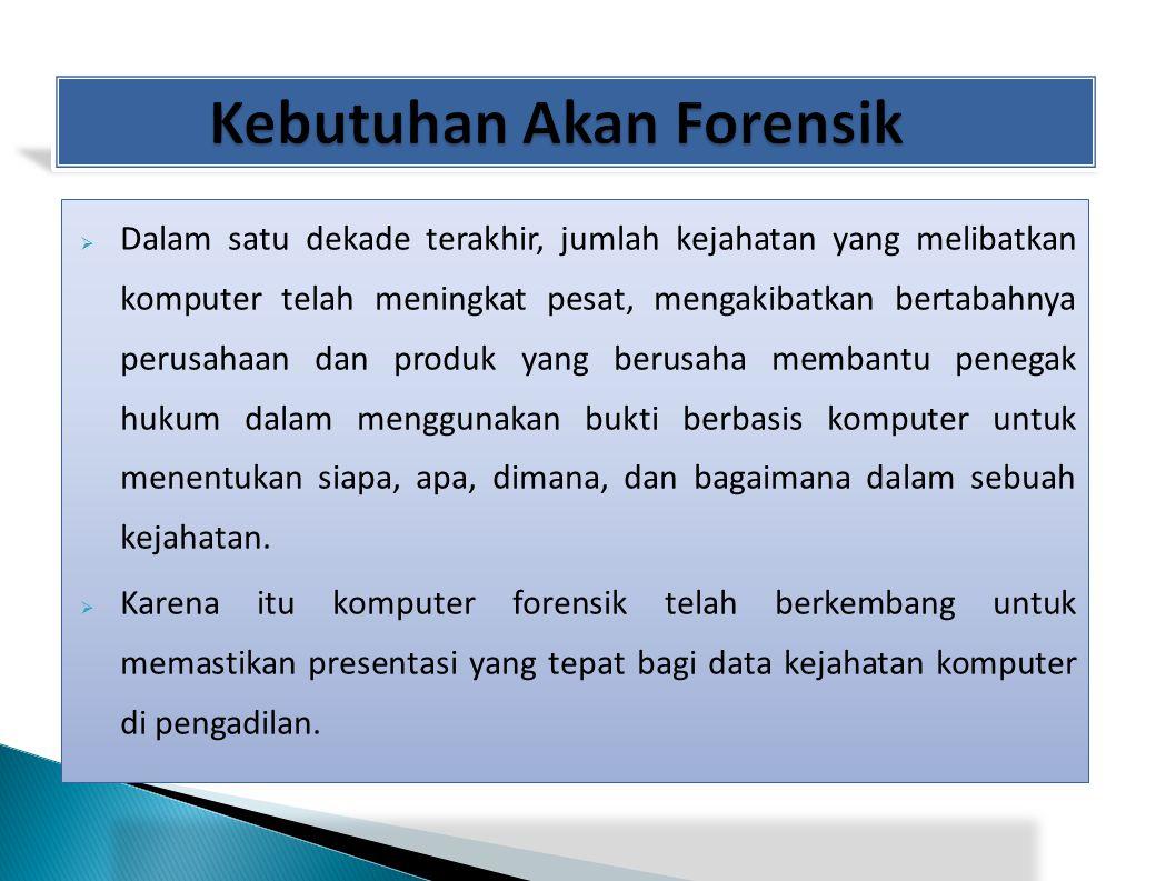 Bukti digital adalah informasi yang didapat dalam bentuk/format digital (scientific Working Group on Digital Evidence, 1999).