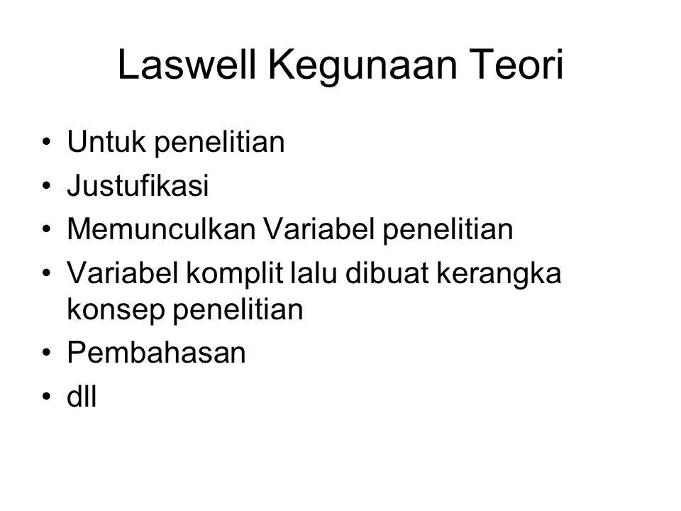 Dari Laswell dapat diturunkan 5 unsur-unsur komunikasi, seolah-olah kita menghentikan suatu proses komunikasi. Jadi seolah-olah proses komunikasi itu