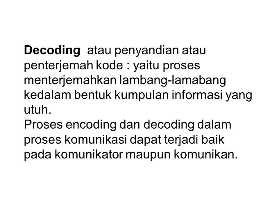 Dalam keseluruhan komunikasi maka dapat dibedakan 3 proses penting yaitu: Encoding : yatu proses pembuatan kode atau pengkodean yaitu proses menterjemahkan rangsang, informasi, gagasan, dan lain-lain kedalam bentuk lambang lambang agar dapat dikirimkan melalui saluran tertentu yang sesuai dengan media yang dipakai.