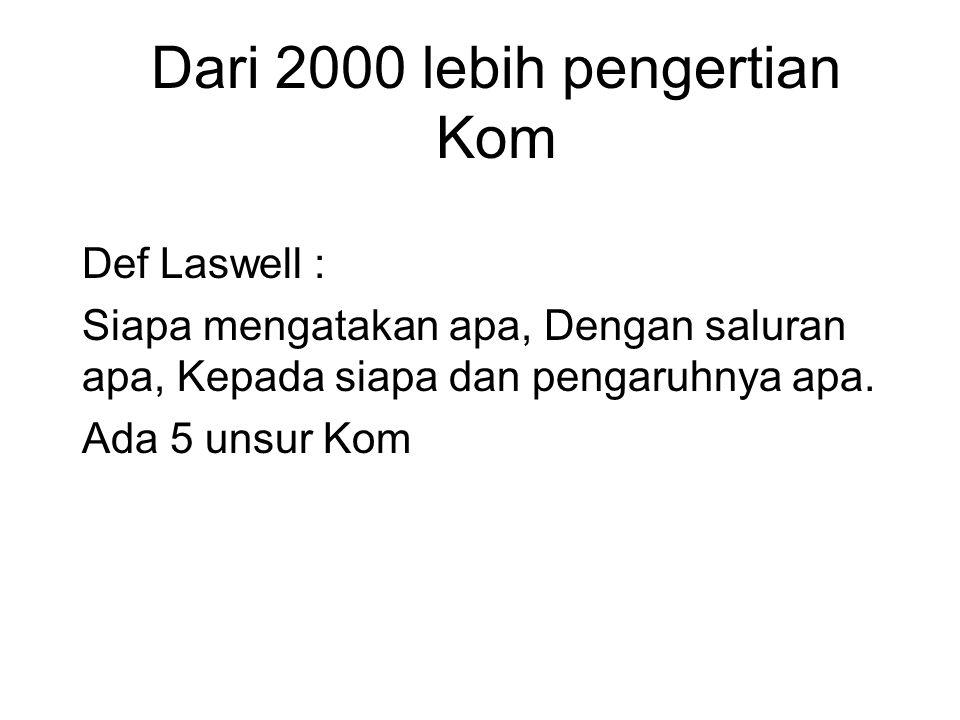 Dari 2000 lebih pengertian Kom Def Laswell : Siapa mengatakan apa, Dengan saluran apa, Kepada siapa dan pengaruhnya apa.