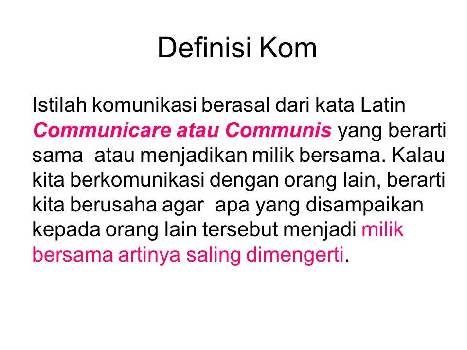Definisi Kom Istilah komunikasi berasal dari kata Latin Communicare atau Communis yang berarti sama atau menjadikan milik bersama.