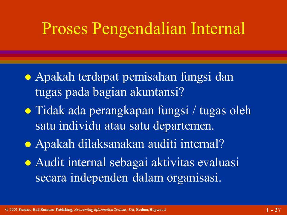  2001 Prentice Hall Business Publishing, Accounting Information Systems, 8/E, Bodnar/Hopwood 1 - 27 Proses Pengendalian Internal l Apakah terdapat pe
