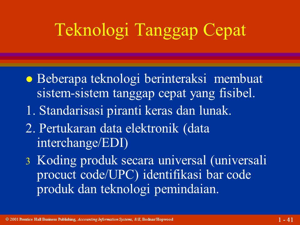  2001 Prentice Hall Business Publishing, Accounting Information Systems, 8/E, Bodnar/Hopwood 1 - 41 Teknologi Tanggap Cepat l Beberapa teknologi beri