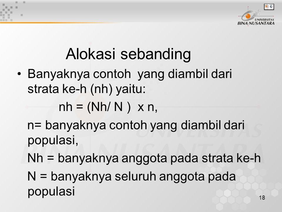 18 Alokasi sebanding Banyaknya contoh yang diambil dari strata ke-h (nh) yaitu: nh = (Nh/ N ) x n, n= banyaknya contoh yang diambil dari populasi, Nh