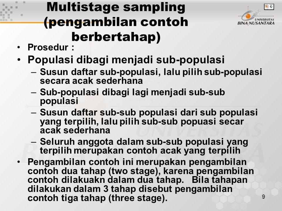 9 Multistage sampling (pengambilan contoh berbertahap) Prosedur : Populasi dibagi menjadi sub-populasi –Susun daftar sub-populasi, lalu pilih sub-popu