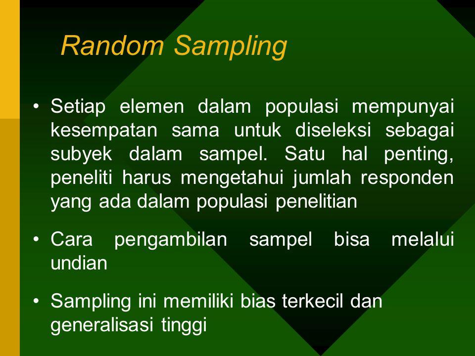 Random Sampling Setiap elemen dalam populasi mempunyai kesempatan sama untuk diseleksi sebagai subyek dalam sampel. Satu hal penting, peneliti harus m