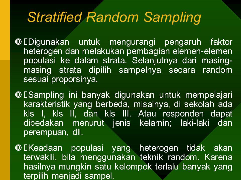 Stratified Random Sampling  Digunakan untuk mengurangi pengaruh faktor heterogen dan melakukan pembagian elemen-elemen populasi ke dalam strata. Sel