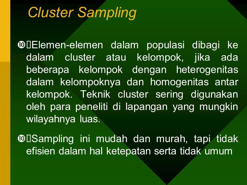 Cluster Sampling  Elemen-elemen dalam populasi dibagi ke dalam cluster atau kelompok, jika ada beberapa kelompok dengan heterogenitas dalam kelompok