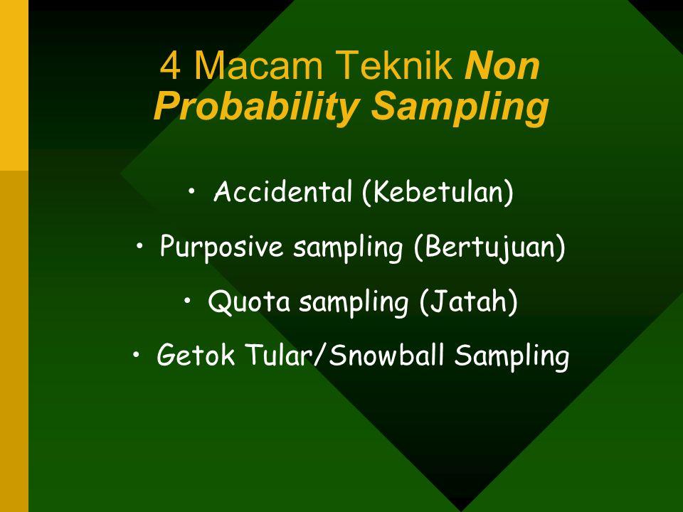 4 Macam Teknik Non Probability Sampling Accidental (Kebetulan) Purposive sampling (Bertujuan) Quota sampling (Jatah) Getok Tular/Snowball Sampling