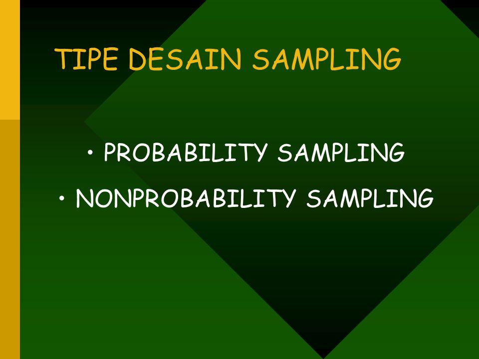 TIPE DESAIN SAMPLING PROBABILITY SAMPLING NONPROBABILITY SAMPLING