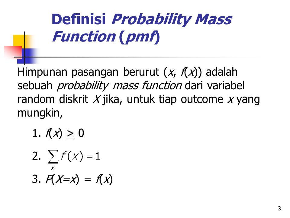 3 Definisi Probability Mass Function (pmf) Himpunan pasangan berurut (x, f(x)) adalah sebuah probability mass function dari variabel random diskrit X