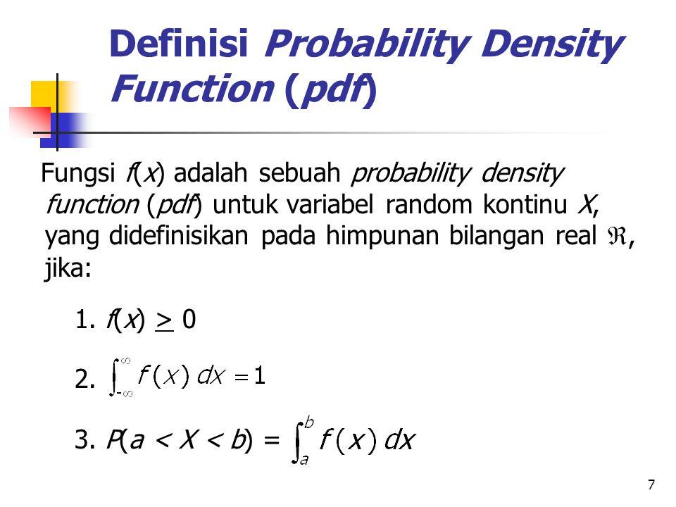 8 Contoh Penggunaan PDF Deviasi pengukuran suhu pada suatu percobaan tertentu merupakan sebuah variabel random X yang memiliki pdf: f(x) = Berapa probabilitas terjadi deviasi antara 1 dan 2?