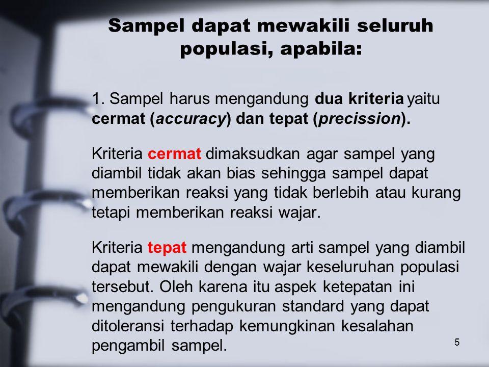 Sampel dapat mewakili seluruh populasi, apabila: 1.