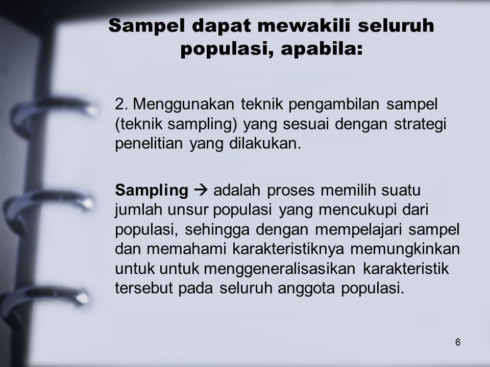 Sampel dapat mewakili seluruh populasi, apabila: 2.