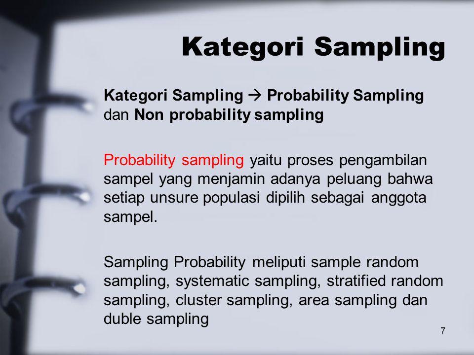 Kategori Sampling Kategori Sampling  Probability Sampling dan Non probability sampling Probability sampling yaitu proses pengambilan sampel yang menjamin adanya peluang bahwa setiap unsure populasi dipilih sebagai anggota sampel.