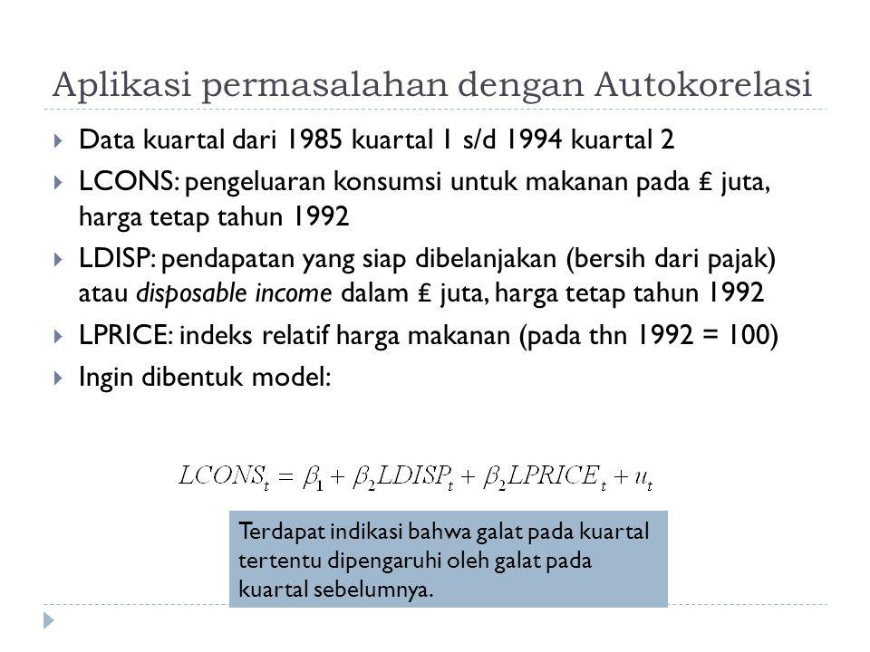 Aplikasi permasalahan dengan Autokorelasi  Data kuartal dari 1985 kuartal 1 s/d 1994 kuartal 2  LCONS: pengeluaran konsumsi untuk makanan pada ₤ juta, harga tetap tahun 1992  LDISP: pendapatan yang siap dibelanjakan (bersih dari pajak) atau disposable income dalam ₤ juta, harga tetap tahun 1992  LPRICE: indeks relatif harga makanan (pada thn 1992 = 100)  Ingin dibentuk model: Terdapat indikasi bahwa galat pada kuartal tertentu dipengaruhi oleh galat pada kuartal sebelumnya.