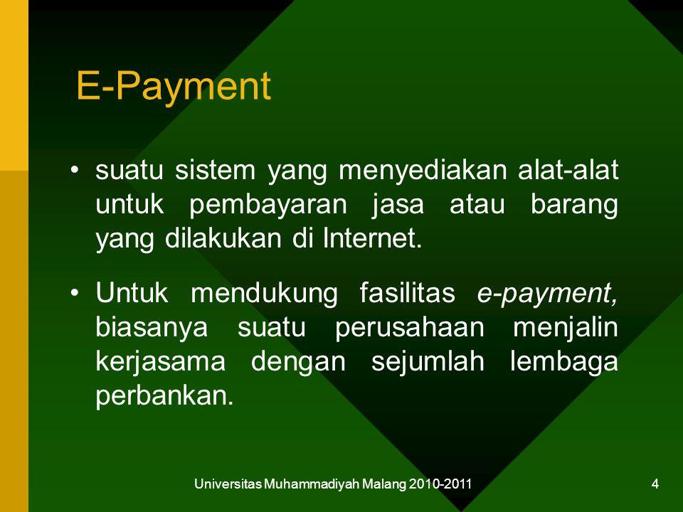 E-Payment suatu sistem yang menyediakan alat-alat untuk pembayaran jasa atau barang yang dilakukan di Internet.