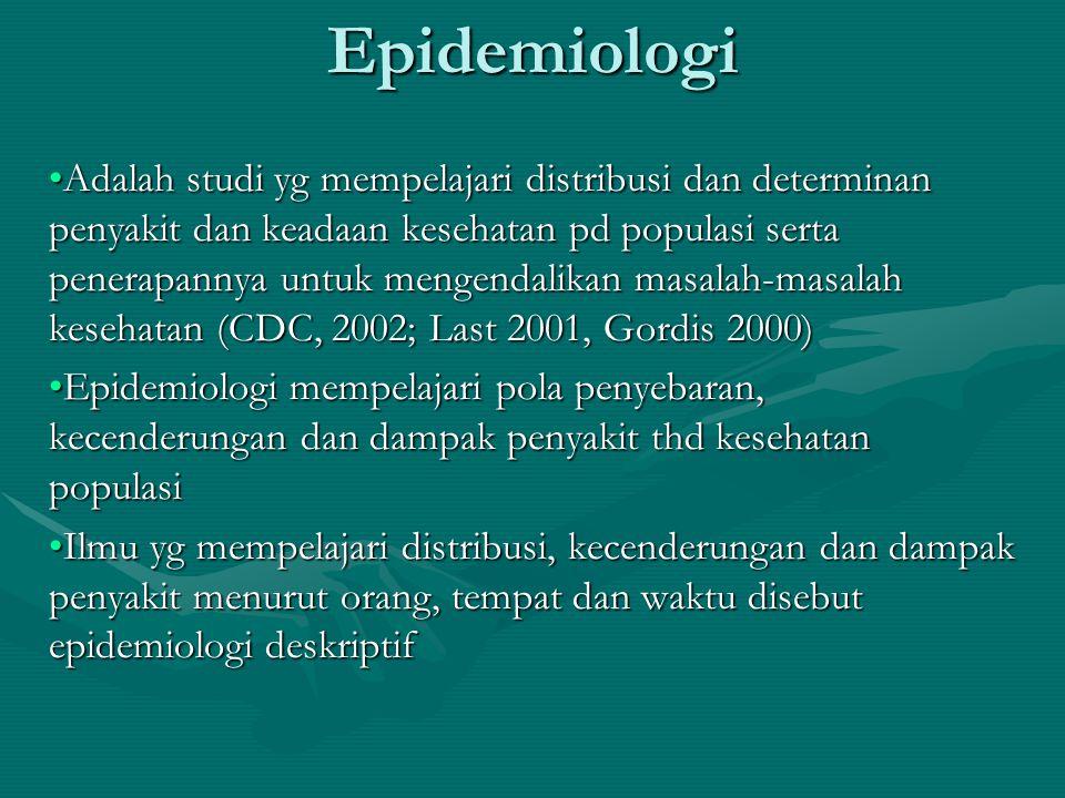 Epidemiologi Adalah studi yg mempelajari distribusi dan determinan penyakit dan keadaan kesehatan pd populasi serta penerapannya untuk mengendalikan m
