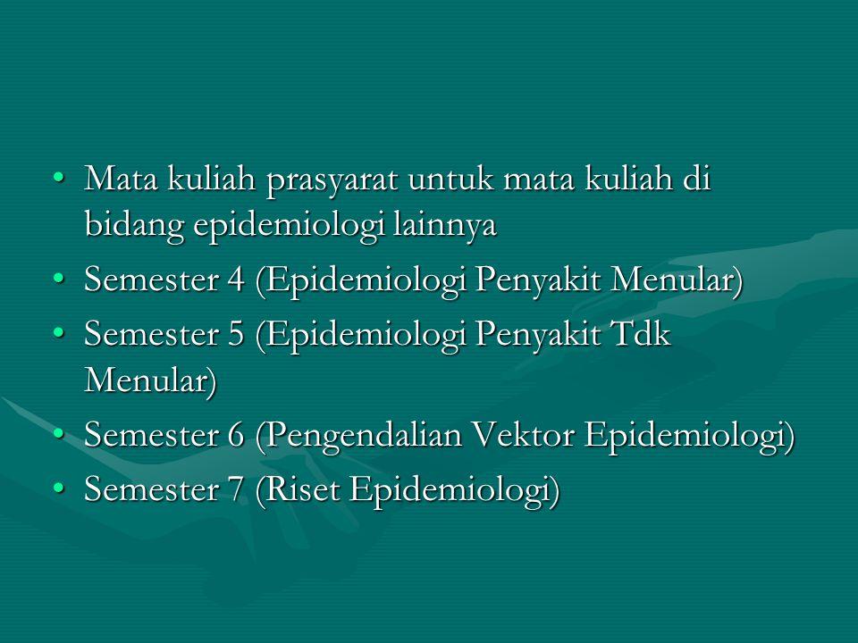 Mata kuliah prasyarat untuk mata kuliah di bidang epidemiologi lainnyaMata kuliah prasyarat untuk mata kuliah di bidang epidemiologi lainnya Semester