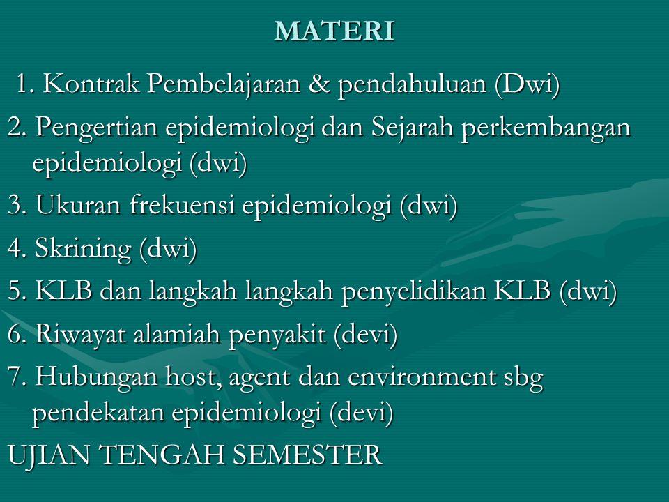 MATERI 1. Kontrak Pembelajaran & pendahuluan (Dwi) 1. Kontrak Pembelajaran & pendahuluan (Dwi) 2. Pengertian epidemiologi dan Sejarah perkembangan epi