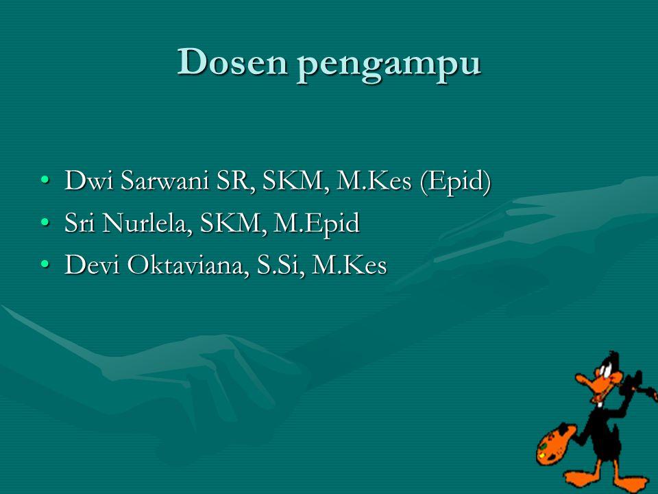 Dosen pengampu Dwi Sarwani SR, SKM, M.Kes (Epid)Dwi Sarwani SR, SKM, M.Kes (Epid) Sri Nurlela, SKM, M.EpidSri Nurlela, SKM, M.Epid Devi Oktaviana, S.S