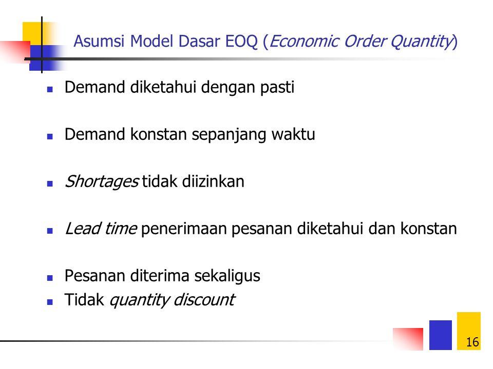 15 Stock tersedia Demand Hitung posisi stock Posisi stock  ROP Yes No Pesan sebesar EOQ terima Stock tersedia Demand Stock > demand No Yes terima Bac