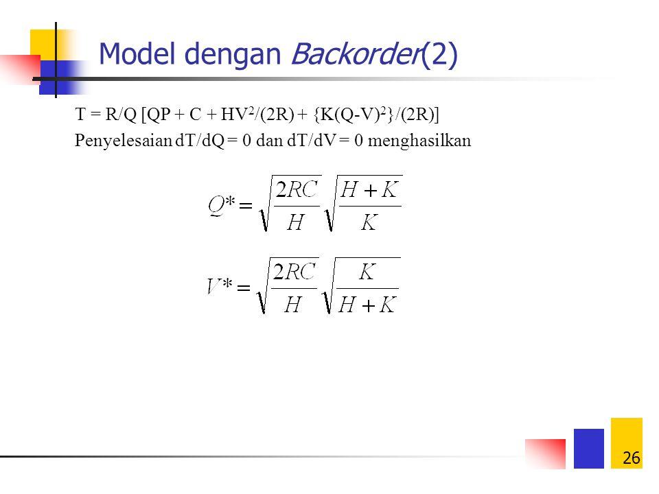 25 Model dengan Backorder(1) QV t2t2 t1t1 t3t3 0 ongkos simpan selama t 1 = H(V/2)t 1 = HV 2 /(2R) R Karena t 1 = (V/R), maka Karena t 2 = (Q-V)/R, ma