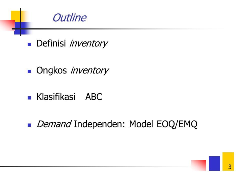 3 Outline Definisi inventory Ongkos inventory Klasifikasi ABC Demand Independen: Model EOQ/EMQ