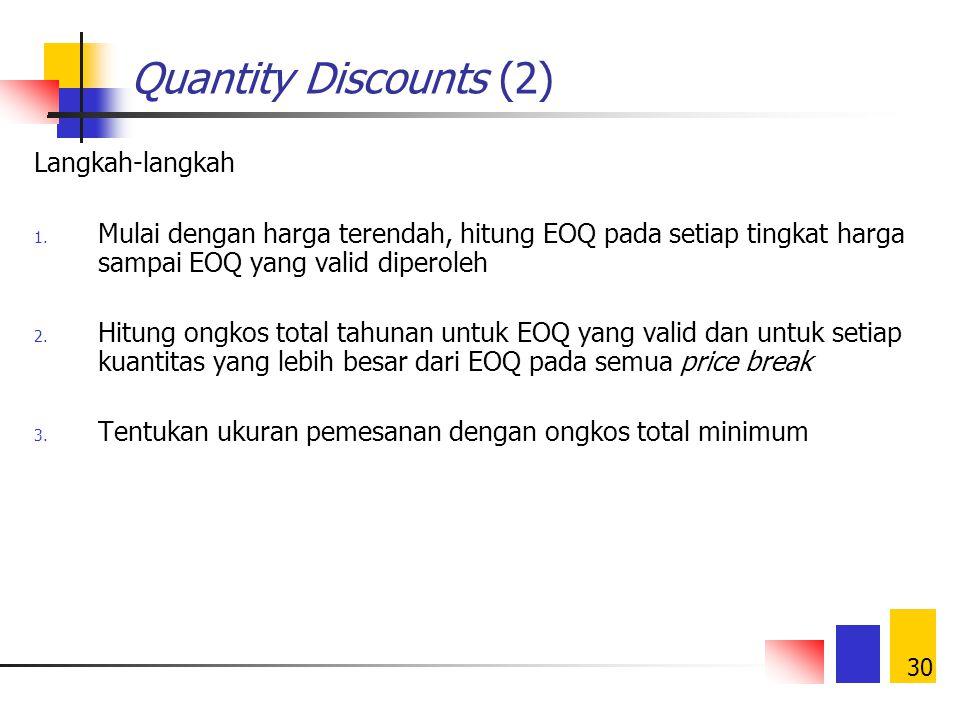 29 Quantity Discounts (1) Harga produk per unit diketahui: P o untuk 1  Q  U 1 P 1 untuk U 1  Q  U 2. P j untuk U j  Q Jenis quantity discount: A
