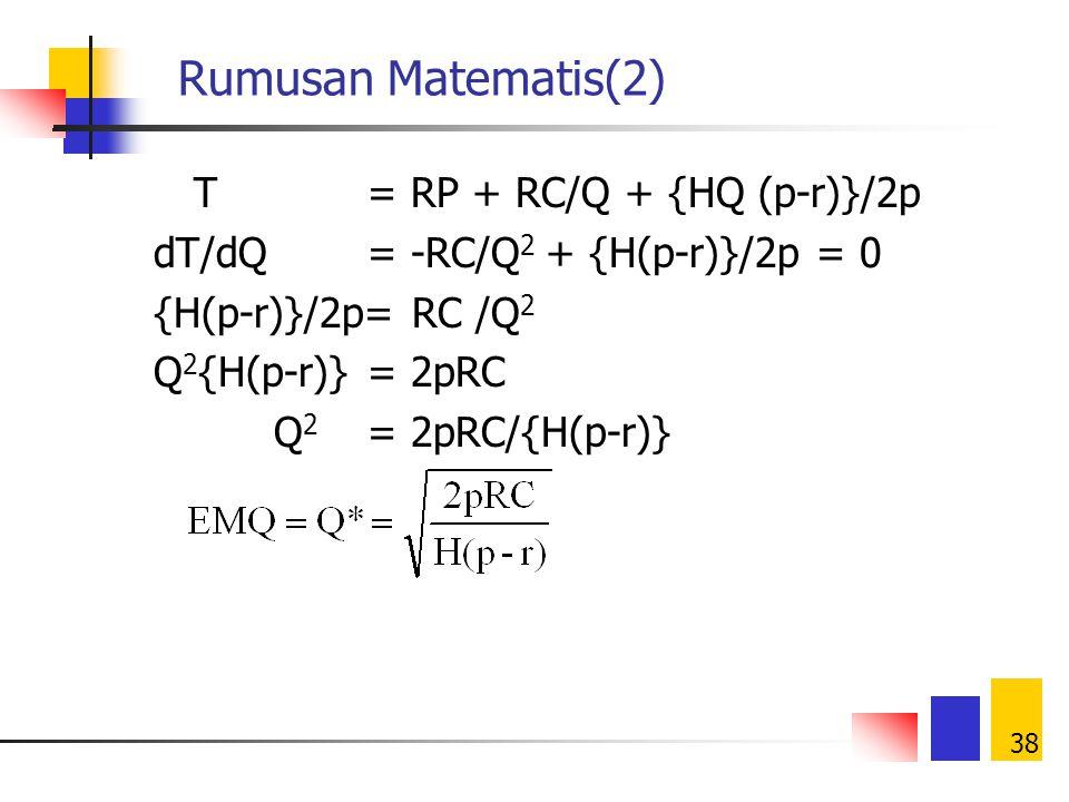 37 Rumusan Matematis(1) Harga beli total = Frekuensi pemesanan per tahun = Ongkos pesan total = Inventory rata-rata = Ongkos simpan = Ongkos total inv