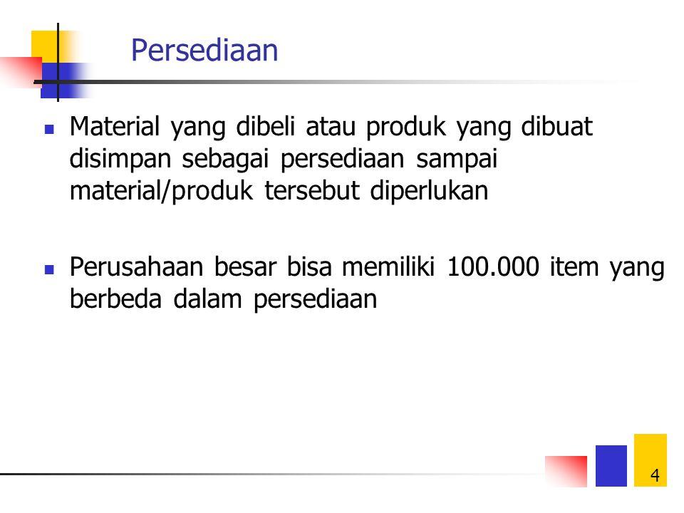 4 Persediaan Material yang dibeli atau produk yang dibuat disimpan sebagai persediaan sampai material/produk tersebut diperlukan Perusahaan besar bisa memiliki 100.000 item yang berbeda dalam persediaan