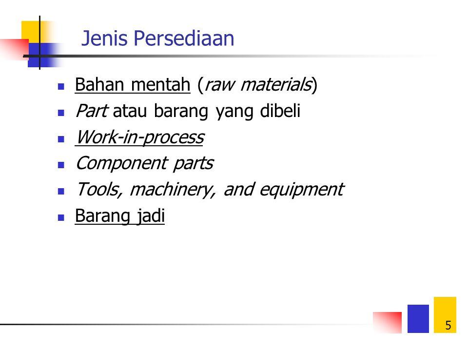 5 Jenis Persediaan Bahan mentah (raw materials) Part atau barang yang dibeli Work-in-process Component parts Tools, machinery, and equipment Barang jadi