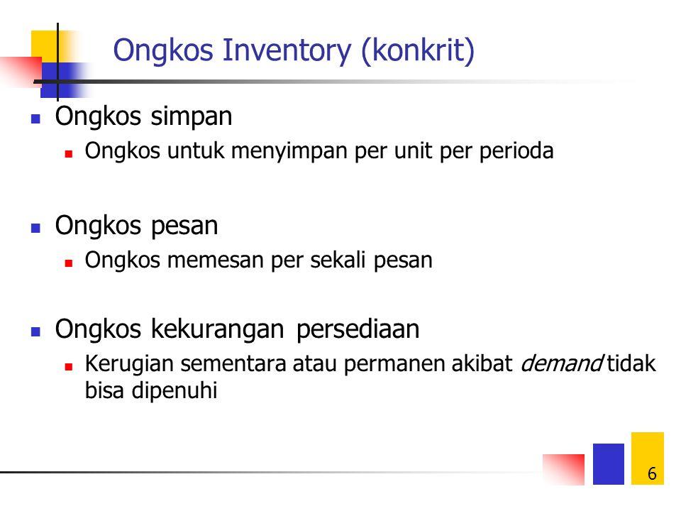 6 Ongkos Inventory (konkrit) Ongkos simpan Ongkos untuk menyimpan per unit per perioda Ongkos pesan Ongkos memesan per sekali pesan Ongkos kekurangan persediaan Kerugian sementara atau permanen akibat demand tidak bisa dipenuhi