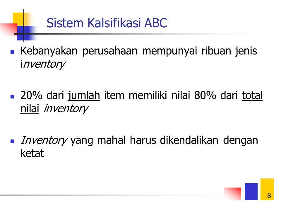 8 Sistem Kalsifikasi ABC Kebanyakan perusahaan mempunyai ribuan jenis inventory 20% dari jumlah item memiliki nilai 80% dari total nilai inventory Inventory yang mahal harus dikendalikan dengan ketat