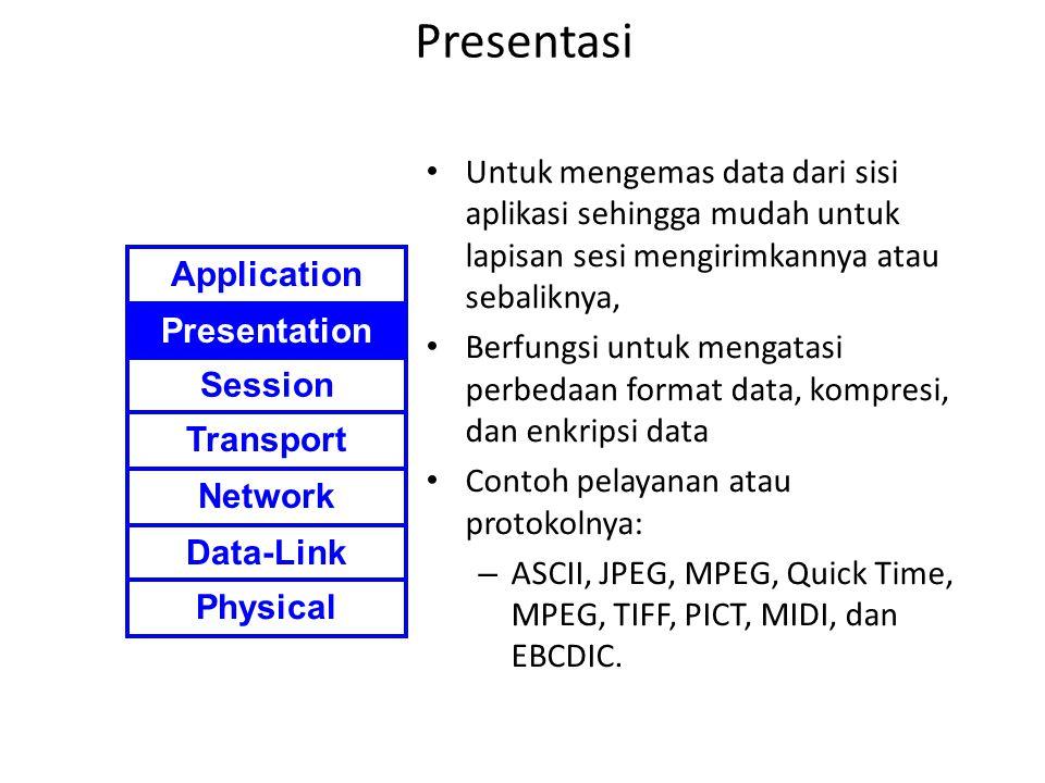 Presentasi Untuk mengemas data dari sisi aplikasi sehingga mudah untuk lapisan sesi mengirimkannya atau sebaliknya, Berfungsi untuk mengatasi perbedaa