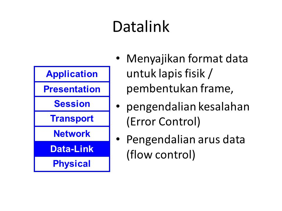 Datalink Menyajikan format data untuk lapis fisik / pembentukan frame, pengendalian kesalahan (Error Control) Pengendalian arus data (flow control) Application Presentation Session Transport Network Data-Link Physical