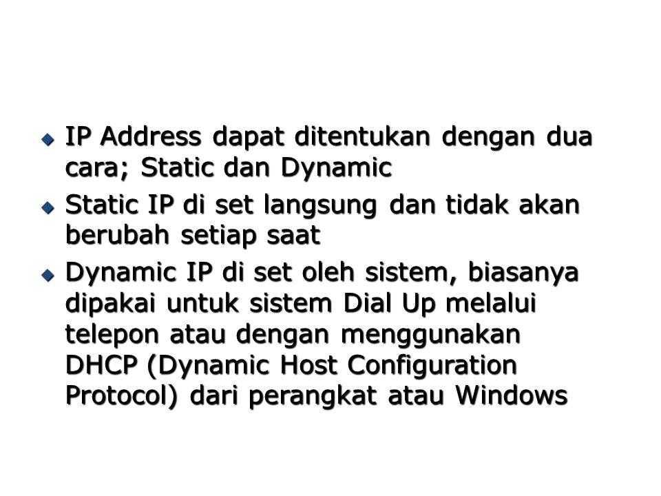  IP Address dapat ditentukan dengan dua cara; Static dan Dynamic  Static IP di set langsung dan tidak akan berubah setiap saat  Dynamic IP di set o