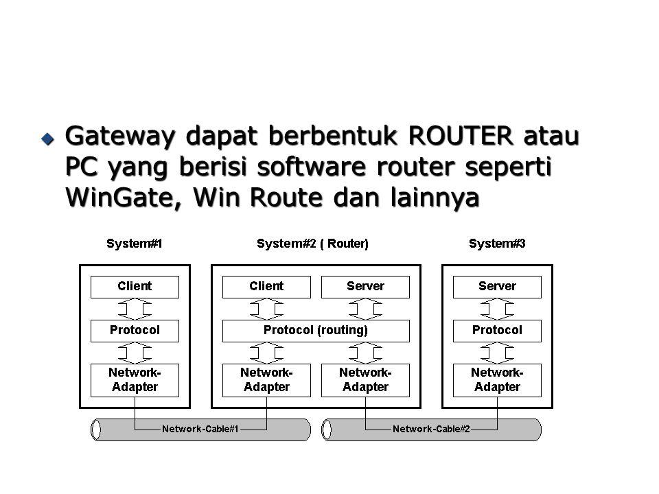  Gateway dapat berbentuk ROUTER atau PC yang berisi software router seperti WinGate, Win Route dan lainnya