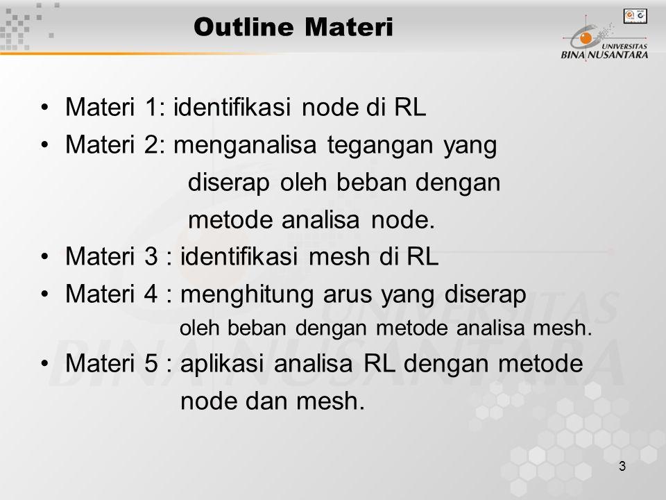 3 Outline Materi Materi 1: identifikasi node di RL Materi 2: menganalisa tegangan yang diserap oleh beban dengan metode analisa node. Materi 3 : ident