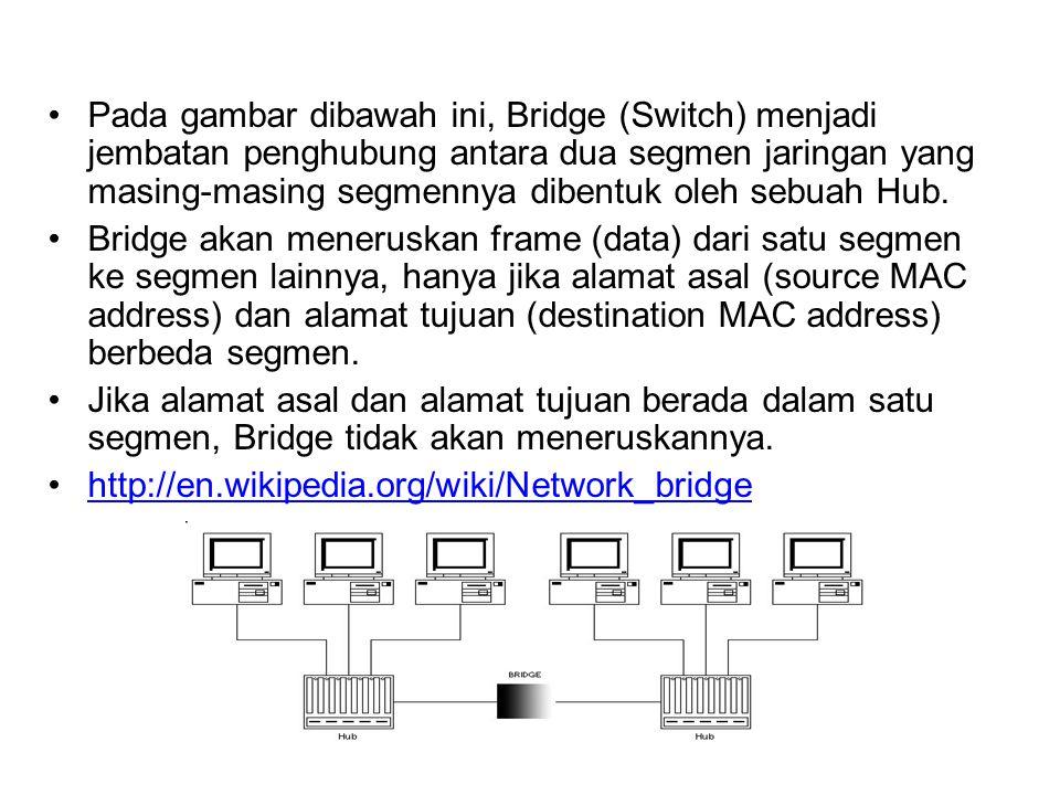 SWITCH adalah istilah dagang/pasar untuk perangkat network yang disebut BRIDGE. Beda dengan HUB, Switch tidak akan membroadcast frame ke port lain yan