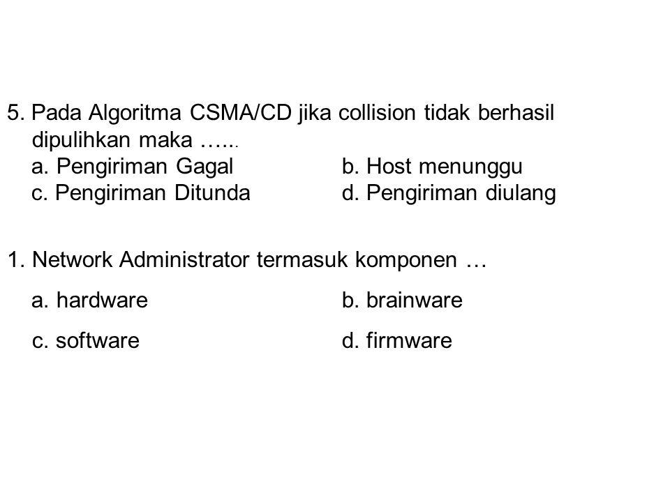 4. Gambar di atas merupakan topologi ….. a. Lineb. Star c. Linierd. Ring 5. Pada Algoritma CSMA/CD jika collision tidak berhasil dipulihkan maka …...