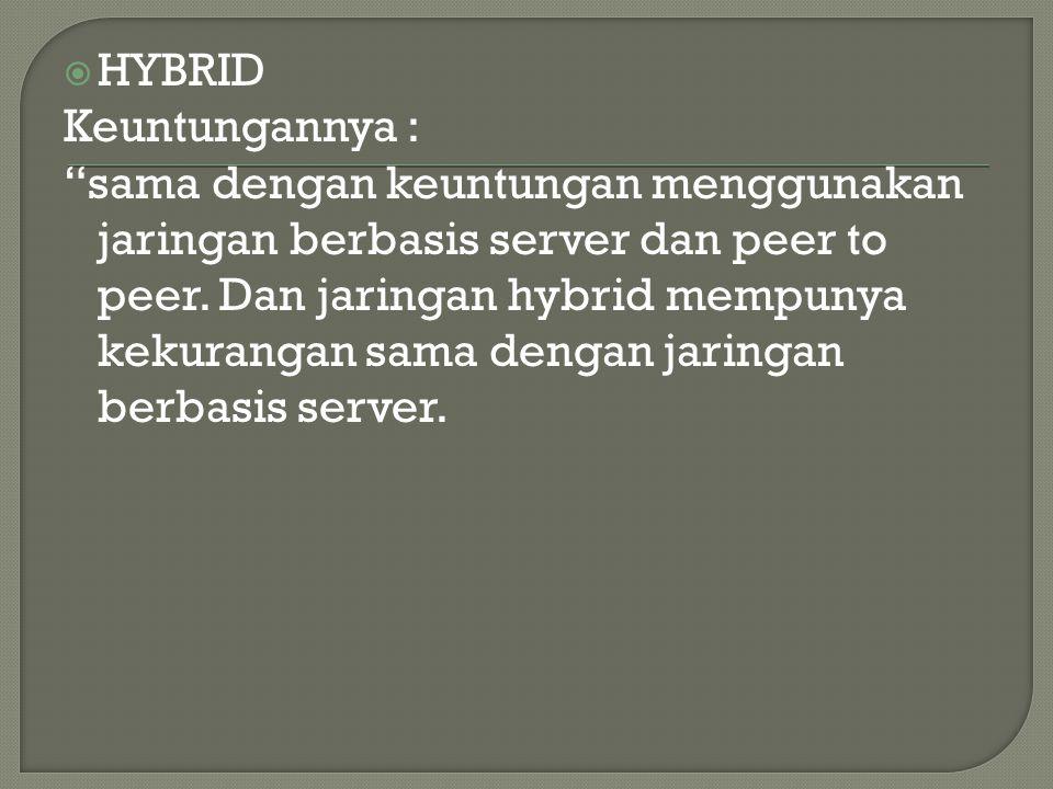 """ HYBRID Keuntungannya : """"sama dengan keuntungan menggunakan jaringan berbasis server dan peer to peer. Dan jaringan hybrid mempunya kekurangan sama d"""