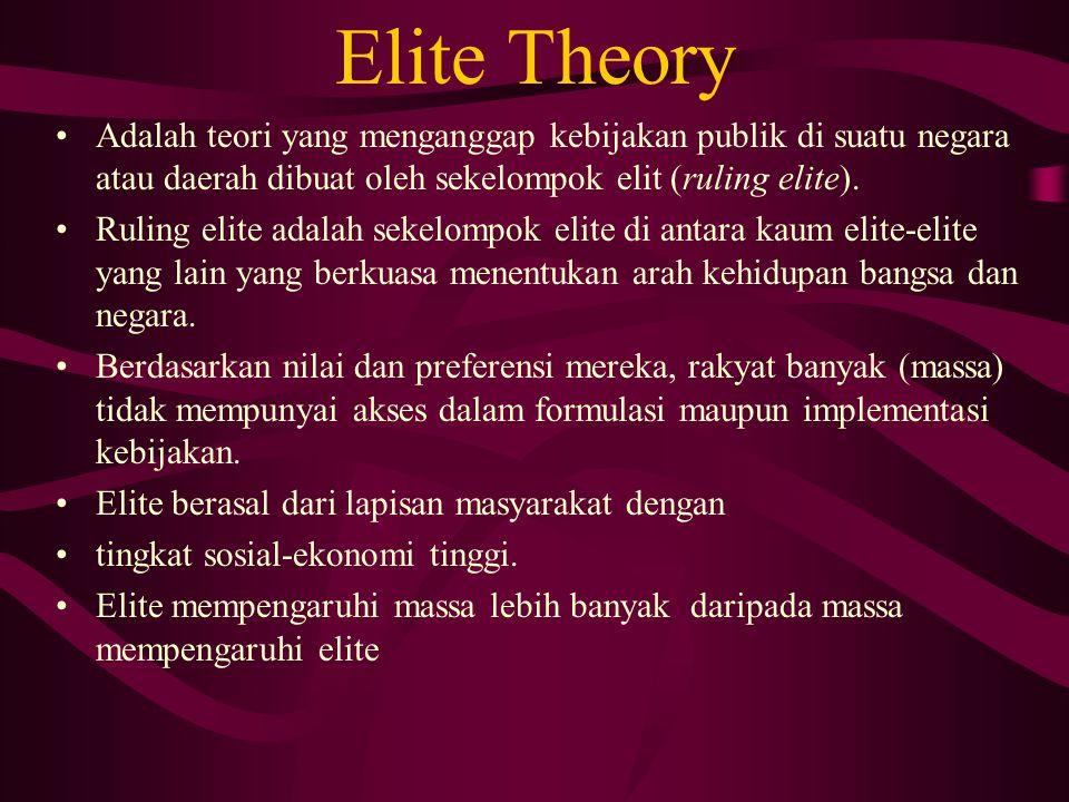 Elite Theory Adalah teori yang menganggap kebijakan publik di suatu negara atau daerah dibuat oleh sekelompok elit (ruling elite). Ruling elite adalah