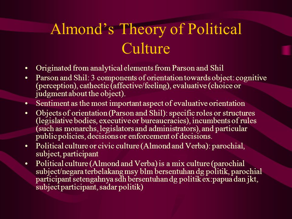 Almond's Theory of Political Culture Originated from analytical elements from Parson and Shil Parson and Shil: 3 components of orientation towards object: cognitive (perception), cathectic (affective/feeling), evaluative (choice or judgment about the object).